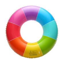 New Rainbow Inflatable Swimming Ring Swim Float Summer Beach Water Fun Pool Toys For Adults Children Kids(China)