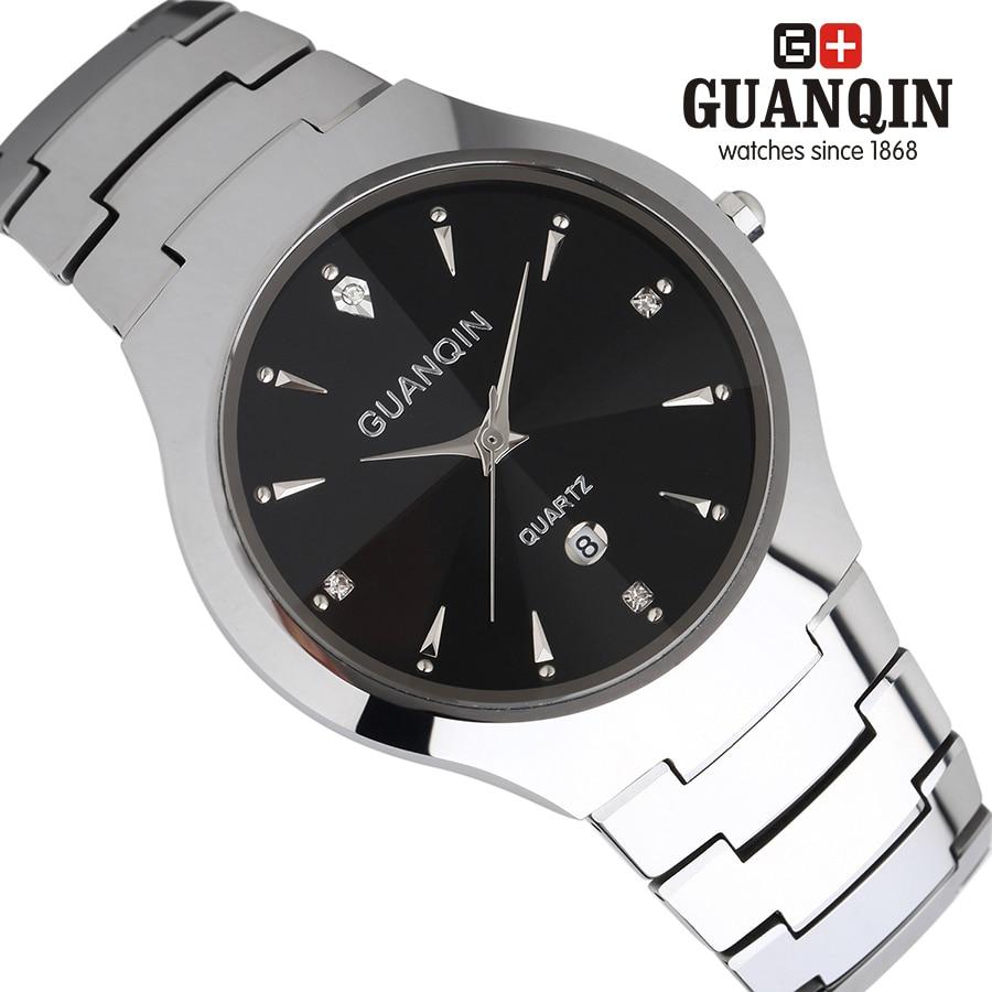 Brand GUANQIN Lovers Mens watches Business quartz watch men vintage dress relogio masculino waterproof Tungsten steel Calendar<br><br>Aliexpress