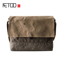 AETOO Original male college oblique shoulder bag color wax canvas bag female art shoulder bag thin type(China)