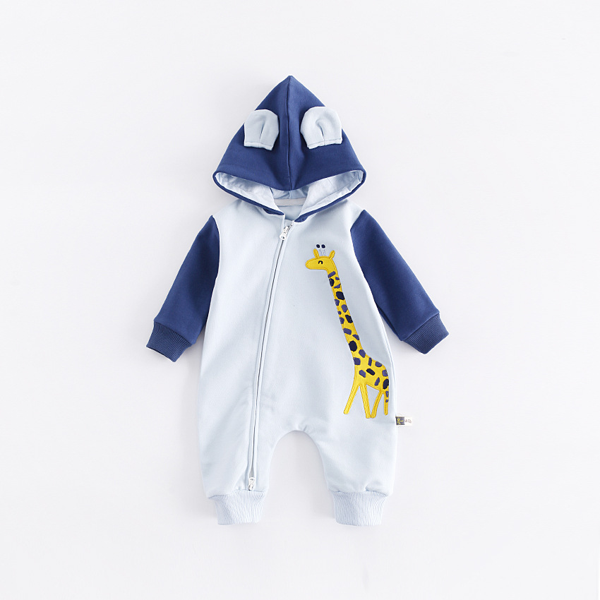 The newborn baby baby clothing leotard giraffe embroidery Zip Hooded Romper baby children climb clothes clothing<br>