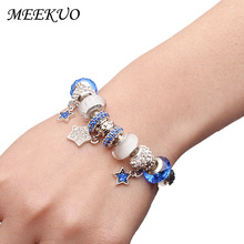 European Style Romantic Silver 925 star Charm Murano Beads Bracelet for Women Fit Original Bracelets Brand DIY Jewelry