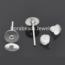 DoreenBeads 250 Pairs dull silver color Glue-on Earring Posts W/Stoppers (B04052)