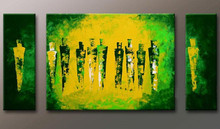 Modern Home Decor Hand Painted Abstract Yellow Oil Painting Handpainted Acrylic Green Paintings Canvas Wall Art 3 Panel Pictures