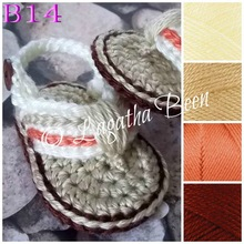 Free Shipping Crochet Baby Shoes, Baby boy knitting Flip Flops, Crochet Baby Toddler Sandals , child photo props shoes(China)