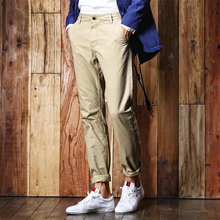 Mens Casual Straight Pants with Pockets Cotton Trousers Solid color Formal Pants Men Cargo Pants Male Fashion Brand Clothing