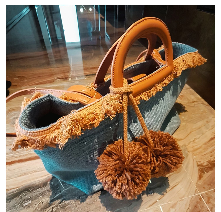 Caker Brand 2018 Women Large Denim Jeans Handbag Sweater Yard Tassel Ball Shoulder Bags Dark Blue Denim Shoulder Bags Handbag<br>