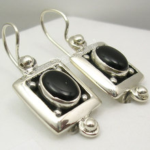 Silver Real BLACK ONYX Designer Dangle Earrings 3CM(China)