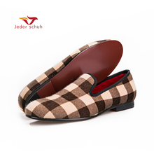 men shoes design Mixed color Plaid pattern velvet shoesmen dress shoes handmade plus size loafers Fashion party and wedding(China)