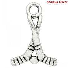 DoreenBeads Retail Charm Pendants Ice Hockey Stick Antique Silver 22x16mm,50PCs