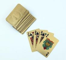 2017 Hot Selling Pure 24 K Carat Novelty Gold Game Playing Cards w/ 52 Cards & 2 Jokers Special Gift(China)