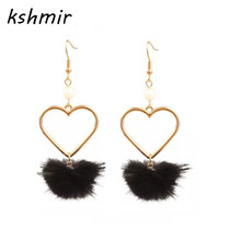 kshmir Lovely girl heart lovely hair bulb pearl earring no ear pierced ear women adorn article Popular fur ball Soft