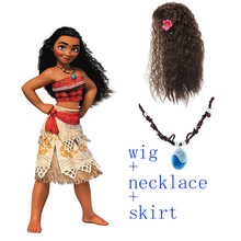 Wig+Necklace+Costume Women Kid Moana Princess Dress Cosplay Children Adult Halloween Girl Party Christmas Gift Sex Skirt Suit