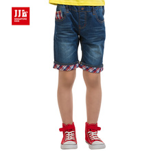 kids causal shorts boys grid snap design pants children's straight leg half length blues jeans size 6-15 free shippi