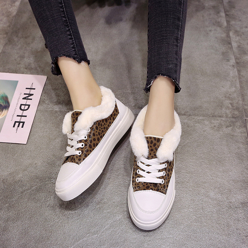 SWYIVY Woman White Shoes Sneakers Winter Fur Warm 2018 New Female Leopard Winter Casual Shoes Comfortable Flat Sneakers Woman