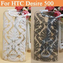 New Luxury Cover For HTC Desire 500 506e Hard Cover Case Black & White Paisley Vintage Flower Case For HTC Desire 500 506e