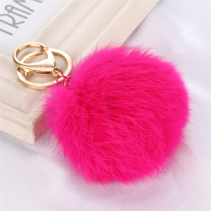 8CM Fluffy Pompom Real Rabbit Fur Ball Key Chain Women Trinket Pompon Hare Fur Toy keyring Bag Charms Ring Keychain Wedding Gift (3)