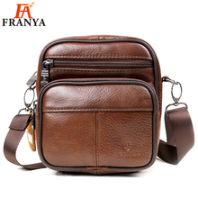 100% top cow genuine leather versatile casual shoulder men messenger bags for men leather handbags mini bag brown(China)