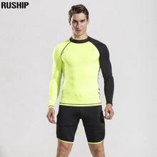 Hisea Men elasticity Swimwear Surf Rash Guard Shirt Tights and Shorts Diving Skins Wet suit Jacket UV men Protection two Parts