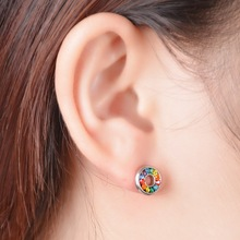 Stainless Steel Barbell Ear Studs With Mix Color Rhinestones Silver Stud Earrings For Women Hip Pop Earrings Jewelry 10x10mm