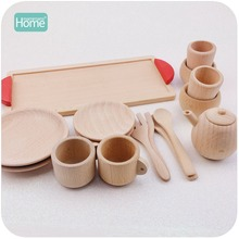 MamimamiHome Wooden Cutlery Pretend Play Tea Set Wooden Educational Activity Montessori Toddler Game Inspired Toys Baby Rattle(China)