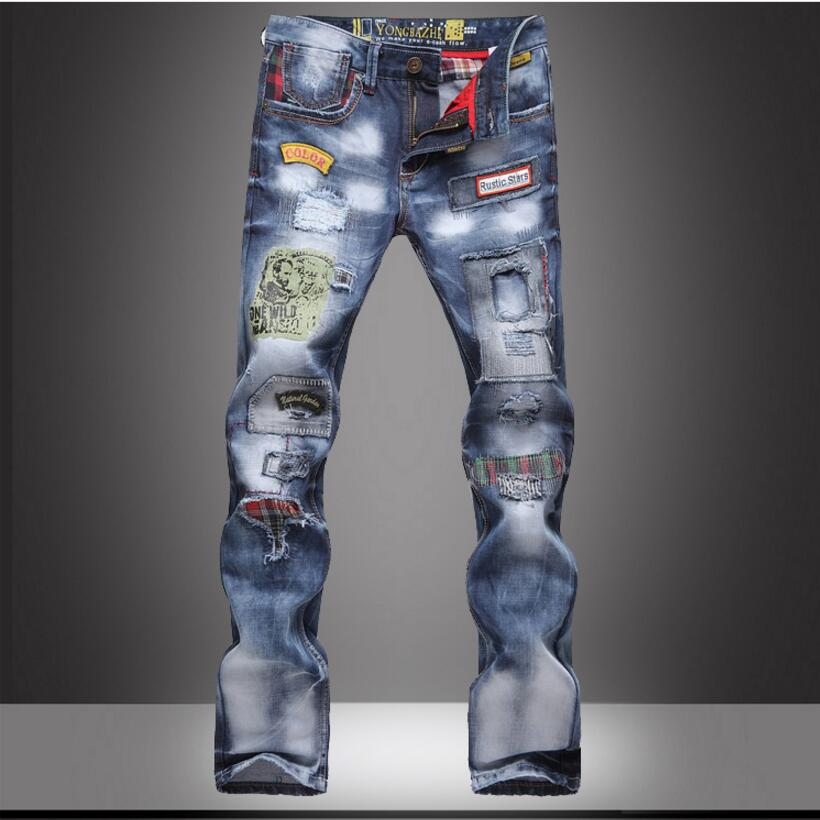 Good Quality Mens Cotton Holes Jeans Straight Denim Trousers New Fashion Male Slim Long Jeans Size 38Одежда и ак�е��уары<br><br><br>Aliexpress