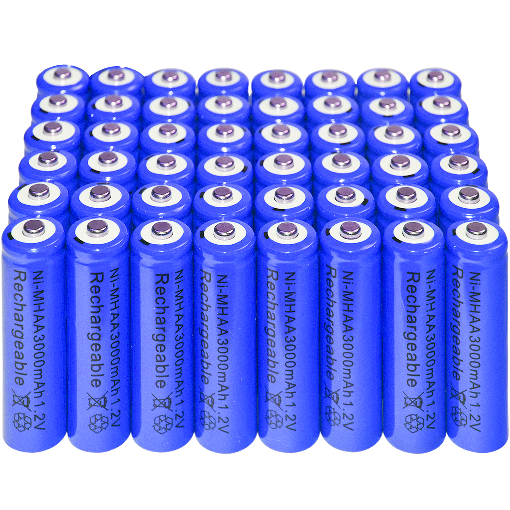 48xAA battery Rechargeable NI-MH 3000mAh 1.2V Blu batteries Bulk Nickel Hydride  <br>