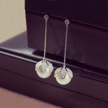 Romantic Gorgeous Flower bud Shaped Long Drop earrings CZ stone Cluster Simulated Pearl Dangle Earrings For Wedding Party