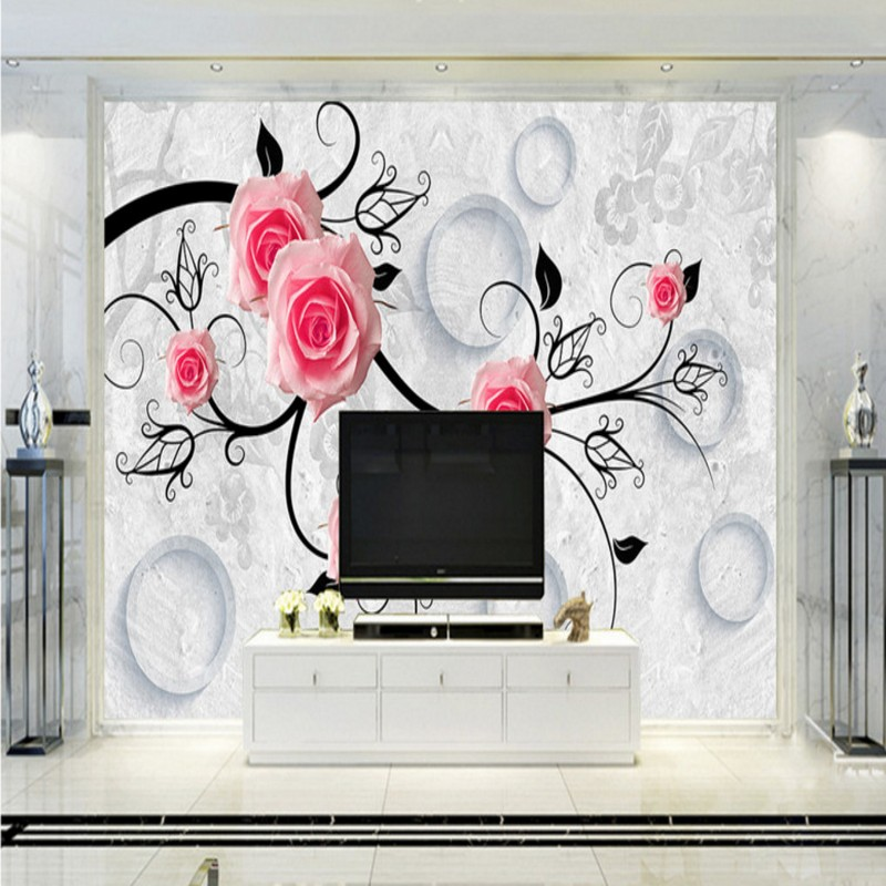 Free Shipping Roses 3D geometric reliefs TV backdrop bathroom living room bedroom mural high quality stereo office wallpaper<br><br>Aliexpress