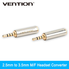 Vention 1Pcs 2.5mm Male to 3.5mm Female Audio Stereo Headphone Jack Adapter Connector Converter For Iphone Xiaomi