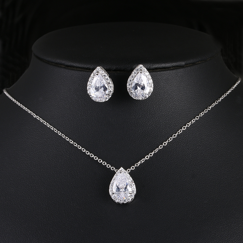 Nigerian Water Drop Cubic Zirconia Wedding Jewelry Sets inlay Luxury Crystal Bridal Jewelry Set Gifts For Bridesmaids AS099 6