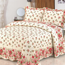 New Amerian Cotton Floral Print bedding set  a family of four / three-piece Bedspread Quilt Bed cover Pillowcase set High end