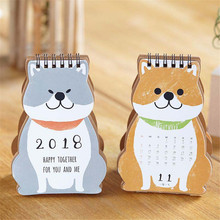 2018 Dual Daily Scheduler Table Planner Yearly Agenda Organizer Cartoon Cute Happy Dog Mini Desktop Paper Calendar(China)