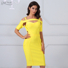 Adyce 2017 New Chic Women Bandage Dresses Sexy Yellow Cut Out Bodycon Mini Vestidos Celebrity Evening Party Dress Clubwear(China)