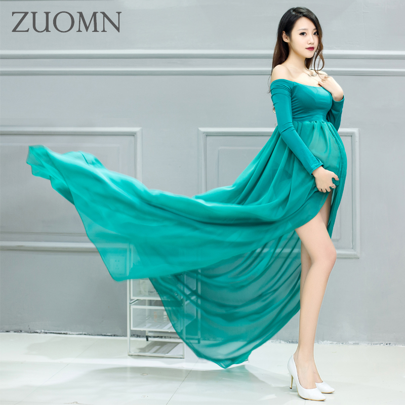 Pregnant Maternity Women Photography Props Dresses 7 Colors Pregnant Strapless Spilt Maternity Photo Shoot Shower Dress YL524<br>