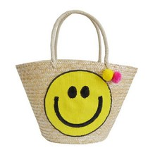 Korea Designer Smile Smiling Beauty Straw Bucket  Bag 2017 Korean New Woven Straw Tote with Hairball Summer Causal Vocation Bag