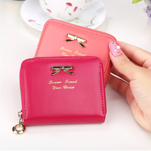 Women Girl Zipper Leather Purse Wallet Money Card Holder Coin Bag Coin Purses Ladies Girls Bow Knot Pendant