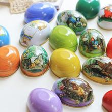 Easter Egg Painted Eggshell Tin Boxes Pills Case Wedding Candy Can Jewelry Party Accessory Iron Trinket Gift