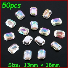 50pcs/lot 13*18mm White Shiny Rectangle Rhinestone Crystal AB Color No Hole Stone Women DIY Jewelry For Wedding Dress Clothes