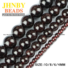 JHNBY Natural Garnet stone beads High quality Round Red wine Loose beads ball 4/6/8/10MM jewelry bracelet accessories making DIY
