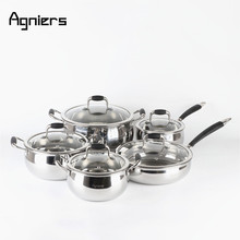 Agniers 10-Piece Light Silver Stainless Steel Cookware Set with Glass Lid(China)