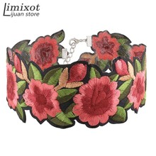 Imixlot Elegant embroidery Floral Choker Necklace Luxurious Chain Necklace Accessories Club Party Necklace Bijoux Jewelry