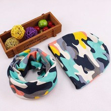 1 Set Cotton Baby Hat Scarf Autumn Winter Kids Cap Scarf Collar Boys Girls Warm Beanies Camo Star Print Children Hats Sets(China)