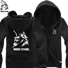 howling wolf grey direwolf house stark King in the North Prince Bran Stark man cotton full zip Hoodies