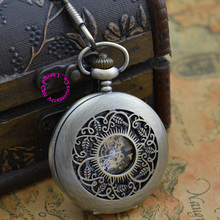 wholesale buyer price good quality vintage man mens retro fashion old new bronze flower mechanical pocket watch hour(China)