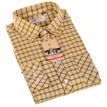 Aoliwen 2017 Hot Sale Yellow classic plaid long-sleeved men's shirt And Comfortable Office Business Casual Shirt Men(China)