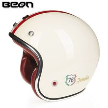 BEON motorcycle helmet vintage Scooter open face helmet retro 3/4 capacete GFRP Material cascos ECE approved(China)