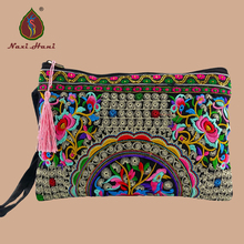 National style Double sided embroidery women handbags fashion canvas purses Wristlets Retro mobile bags