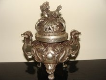 Rare Distinctive Old Ming Dynasty silver censer/ incense stove,Carved dragon,with mark,Free shipping(China)