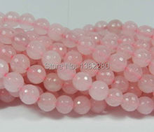 "! new arrive 6mm Pink Quartz Crystal Faceted Round Loose Beads 15""  2 pieces / lot fashion jewelry  JT5869"