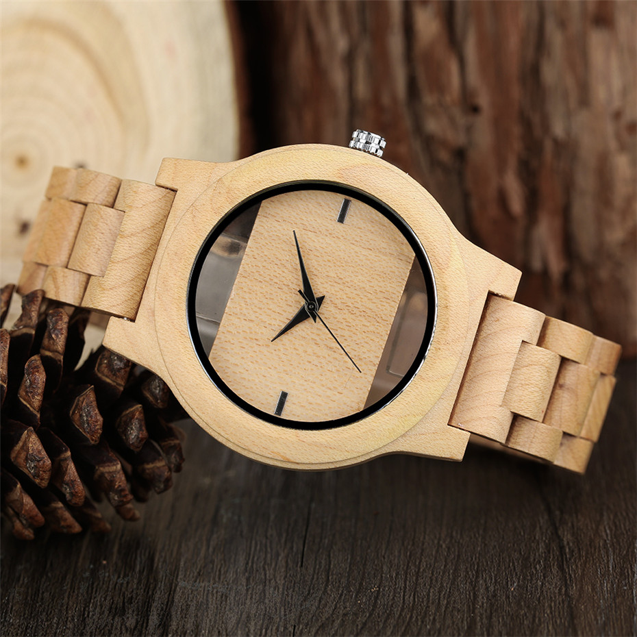 Different color Creative Fashion Casual Sport Simple analog Hollow Bamboo Wooden Men Unique Handmade Wood Quartz Wristwatch+Gift Bags (36)